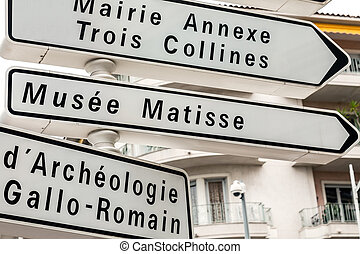 Directional signs in Nice in France - Directional signs...