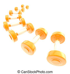 Line of weight dumbbells isolated