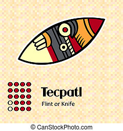 Aztec symbol Tecpatl - Aztec calendar symbols - Tecpatl or...