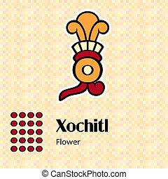 Aztec symbol Xochitl - Aztec calendar symbols - Xochitl or...