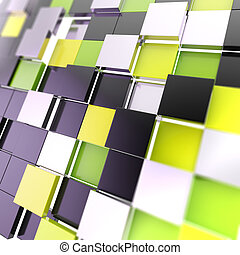 Futuristic copyspace background of cubic plates - Futuristic...