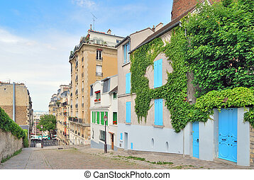 Paris. Montmartre - Paris. Beautiful street on the...
