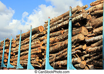 Wood Stacked on a Railcar - Wooden logs stacked on a railcar...