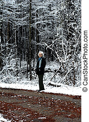 Along an Arkansas Backroad - Elderly woman gets her winter...