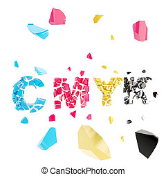 CMYK broken, smashed word explosion