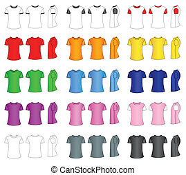 Men's t-shirt templates - Multicolored men's t-shirt...