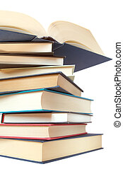 a stack of books isolated over white