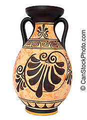 ancient greek orange vase isolated over white