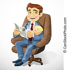 Business dad with sleep baby in an office chair and read...
