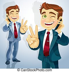 Businessman talking on the phone - cute businessman talking...