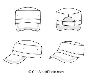 Military cap - Outline military cap vector illustration...