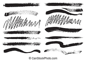 Brush strokes - Set of grunge brush isolated on white...