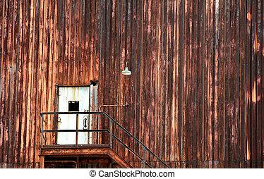 Broken Doorway - Background image shows industrial building...