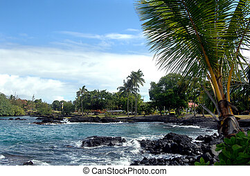 Bay near Hilo, Hawaii - Bay view near Hilo, Hawaii. Small...