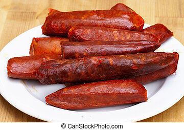 spicy sausages - Detail of spicy sausages - various kinds