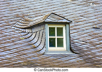 Historic roof - Old historic roof in small city Saarburg,...