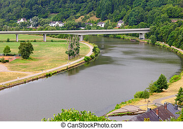 River Saar by Saarburg, Rheinland-Pfalz, Germany, summer