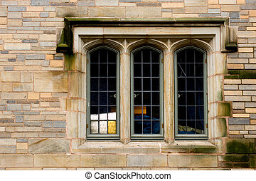 Ivy League window - Yale University campus in New Haven,...