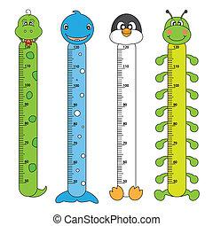 niños, altura, escalas
