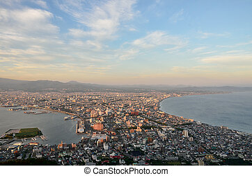 Evening view of the city of Hakodate in Hokkaido, Japan....