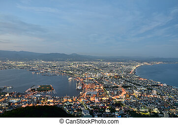 Evening view of the city of Hakodate in Hokkaido, Japan...