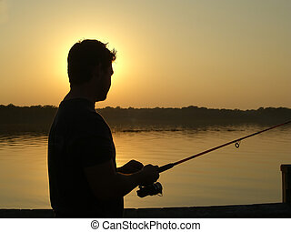 Sunset Fishing - Silhouette of a man fishing