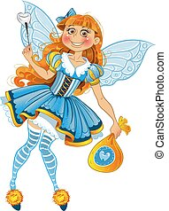 Little tooth fairy with bag of tooth with wings