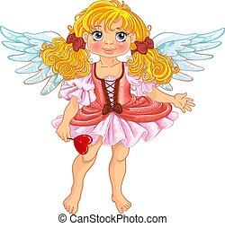 Pretty angel girl with wings