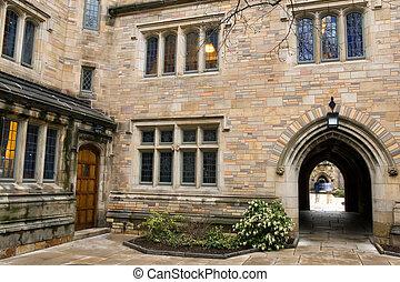 Yale university dorm - Yale University campus at evening,...