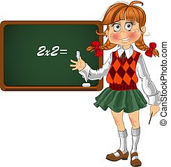 Schoolgirl with a blackboard