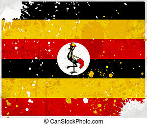 Grunge Uganda flag with stains - flag series