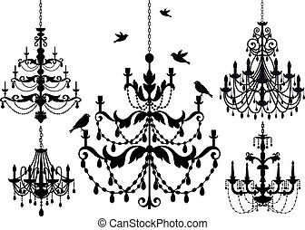 chandelier set, vector - antique chandelier set, vector...