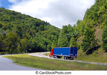 Appalachian Mountain Bend - Eighteen wheeler puts it in low...