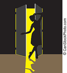 Woman in the Doorway - illustration of woman standing in the...