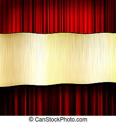 Old blank gold frame with red curtain