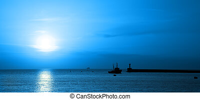 Ship moonlit swims in the bay - Seascape Ship moonlit swims...