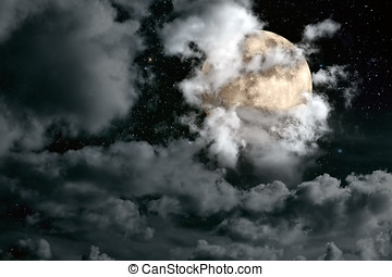 Full moon night sky - Nightly sky with large full moon,...