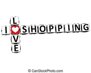3D I Love Shopping Crossword on white background