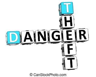 3D Theft Danger Crossword on white background