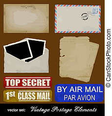 Scrapbooking set of old postage design elements - postcard,...