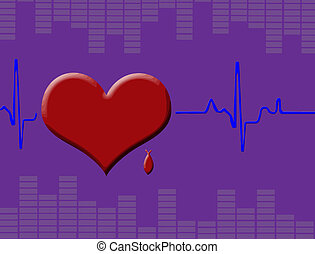 Heart cardiogram with heart, red blood drop and equalizer,...