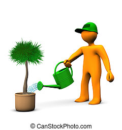 Gardener Watering Palm - Orange cartoon character watering a...