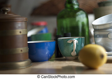 a still life of odd bits and pieces of clutter, including...