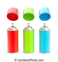 RGB colored spray oil color cylinders isolated - RGB colored...