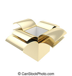 Glossy package parcel box isolated on white - Golden empty...