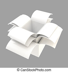 Stack of package parcel boxes isolated on gray - White empty...