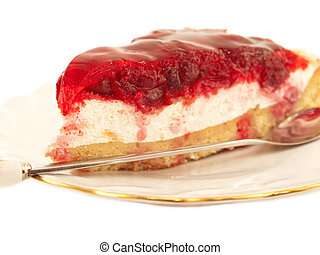 Slice of Cherry flan Cake on plate over white