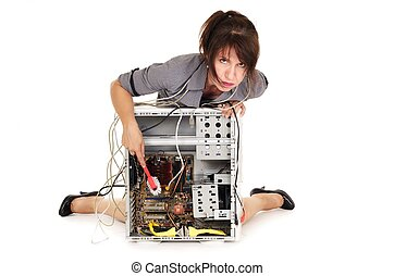 woman cleaning computer - stressed woman washing cleaning...