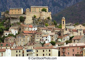 Corsica Corte village - Corte mountain village in Corsica...