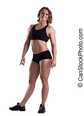 Strong woman full height body builder isolated